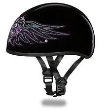 Daytona Helmets Skull Cap W/ BARBED WIRE HEART DOT Motorcycle Helmet D6-BWH