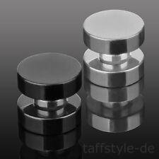 Magnet Fake Ohr Plug Tunnel Piercing Hantel Ohrstecker Edelstahl Silber, Schwarz