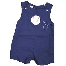 Adorable Petit Ami Navy Toddler Boy Shortall Romper w/ Baseball, Boutique