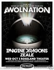 AWOLNATION / IMAGINE DRAGONS 2012 PORTLAND CONCERT TOUR POSTER - Electronic Rock