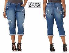 $54 NWT 16W/20W,/22W,/24W Simply Emma Stretch Dstresed Cropped Capri Denim Jeans