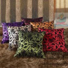 Home Decor Sofa Square Raised Flocked Blossom Satin Cushion Cover/Pillow case