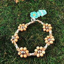 HOTI Hemp Handmade Natural Beige Flower Wood Beaded Floral Anklet Ankle Bracelet