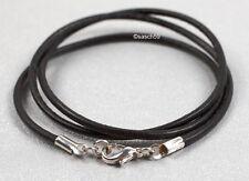Lederkette nach MASS 2mm Lederband Lederhalskette Leder Halsband schwarz 60cm HS