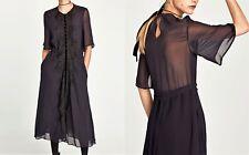Zara Studio MIDI vestido punta de bolsillo azul oscuro Navy dress Lace guipure