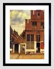 VERMEER PICCOLA STRADA OLD MASTER BLACK Framed Art Print b12x645