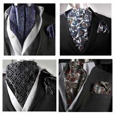 Men's Pure Soie Premium Paisley Ascot Tie Cravat & Poche Carré Mouchoir Mariage