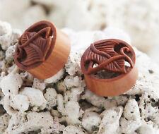 "Pair Sono Wood Elven Leaf Flesh Tunnel Double Flared Ear Plugs Handmade 0G-1"" US"