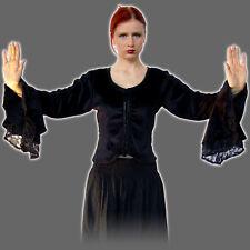 Mittelalterbluse - schwarz + rot - Fledermaus Ärmel Samt Bluse Mittelalter Damen