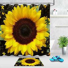 "71"" Spring Flower Sunflower Butterfly Shower Curtain Set & Hooks Bathroom Decor"