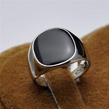 Herren Ring, Siegel Ring, College Ring, Weißgold plattiert/emailliert (HR0081)