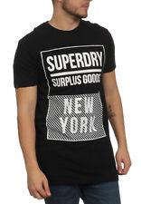 Superdry Camiseta de los hombres Superávit GDS Largo S/S grphc Tee Jet Black