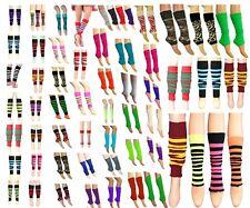 New Dance Wear Ladies Girls Teen 80s Disco Leg Warmer Plain Stripe Animal Print