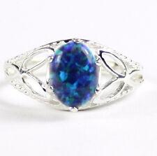 • SR137, Created Blue Green Opal, 925 Sterling Silver Ladies Ring - Handmade