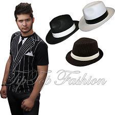 New Adults 1920'S Ganster T-Shirt Stripy Gangster Pimp Hat Fancy Dress Outfit
