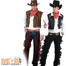 WILD West Cowboy da Uomo Western Costume Rodeo ADULTO COSTUME VESTITO + CAPPELLO NUOVO