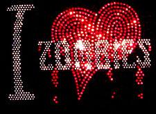 I LOVE ZOMBIES GOTHIC HORROR RHINESTUD T SHIRT  any size s-xxl