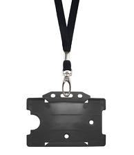 Nero Id Collo laccio corda cordino clip metallica & Plastica Carta Badge Tag