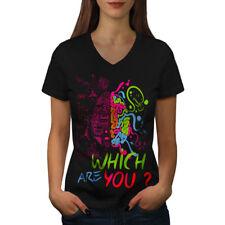 Which Brain Nerd Geek Women V-Neck T-shirt NEW   Wellcoda