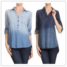 Women Plus size ombre chambray half button down blouse shirts CB145X