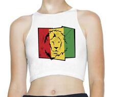 Lion of Judah Flag Rasta Reggae Sleeveless High Neck Crop Top