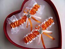 NEW Orange White Wedding Garter Prom Homecoming GetTheGoodStuff Deer Hunting