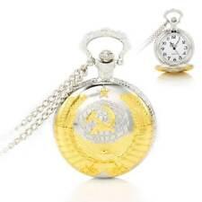 Classical Soviet Sickle Hammer Quartz Pendant Chain Unisex Fob Pocket Watch Gift