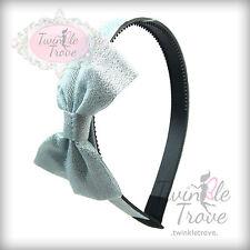 Girls Subtle Sparkly Bow Bowknot Plastic Alice Hairband Headband; Shiny Fabric;