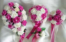 Spose,Damigella,damigella bouquet per matrimoni,asole,bouquet Rosa Acceso,Avorio