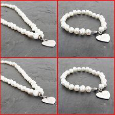 Personalised White sontmainteent Pearl Bracelet Necklace Bridesmaids Wedding Gifts