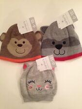Carters Boy Girl Beanie Hat & Mitten Set Size 6-18 Months Kitty Monkey Raccoon