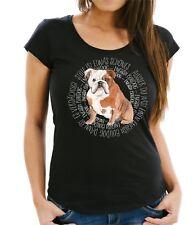 WOMEN T-Shirt CIRCLE ENGLISH BULLDOG Watercolor by Siviwonder