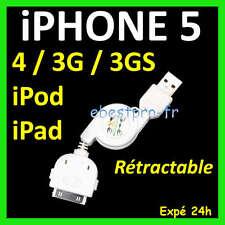 Accessoire Cable USB 2.0 Retractable iPhone 4 3G 3Gs V1 iPod iPad +Film