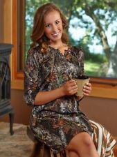 Mossy Oak Camo Nightgown Henley Sleep Shirt, Camouflage Lingerie Lounge Wear