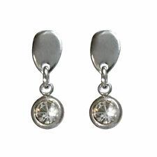 boucles d'oreilles puces acier inoxydable goutte inversée et cristal rond léger