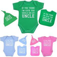 BabyPrem Baby Clothes Cute Uncle Hats Bibs Vests Shower Gift Sets Boys Girls NB+