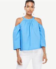 NWT ANN TAYLOR Women $69.50 Poplin Structured Cold Shoulder Top_Blue_Sz_XS_S_M