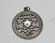 Beads Nepal Silver Mantra Pendant 30mm