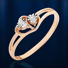 Russische Rose Gold 585 Goldring mit Diamanten.GLITZERNDE Herzens. Hübsch!!!