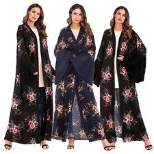 Dubai Lady Kimono Open Front Long Cardigan Abaya Maxi Dress Dubai Flower Kaftan