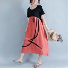Women Cotton Linen Shirt Dress Short Sleeve Casual Loose Thin Splice Vintage