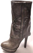 New women's shoes fashion mid calf high heel boots side zipper gray