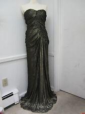 $4300 J Mendel Paris Dress Formal Gown Runway Metallic Bronze size 8
