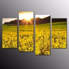 Landscape Canvas Poster Print Artwork Yellow Flower Art Home Decor Picture 4pcs
