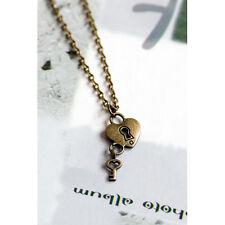 Antique Bronze/Silver Love Heart Lock & Key Charm Pendant Necklace