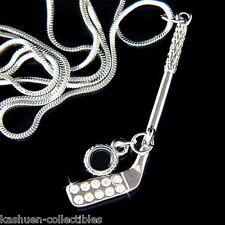 w Swarovski Crystal ~Hockey Stick Black Puck Sports Pendant Necklace Unisex Gift