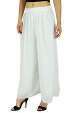 Bimba Femmes Long Flared Wide Leg Palazzo Jupe Plissée Style Pantalon Blanc