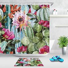 "72x72"" Shower Curtain Set Waterproof Fabric Beautiful Watercolor Cactus Pattern"