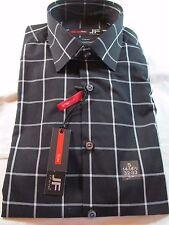 NWT J. FERRAR SLIM FIT LONG SLEEVE DRESS SHIRT, Black Windowpane, Multiple Sizes