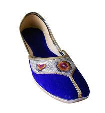 Mojaries Indian Handmade Women Shoes Leather Ballerinas Blue Jutti Flat US 6-12